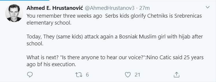 Hrustanovic.jpg - Srebrenica: Srpski učenici napali pokrivenu učenicu F.S.