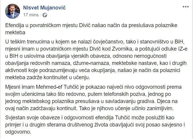 Nisvet FB.jpg - Nisvet ef. Mujanović: Telefonski preslušava djecu iz mekteba